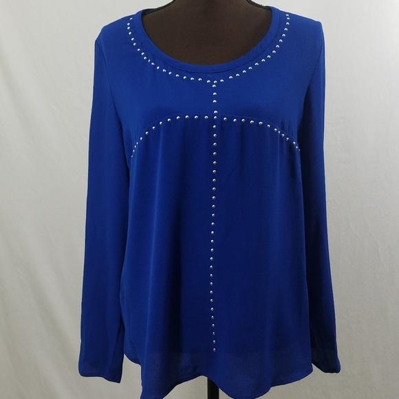 792ff7ce7ad Michael Kors Royal Blue Studded Long Sleeve Hi Low